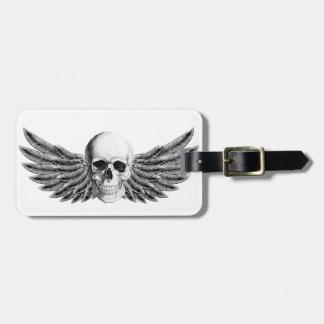 calavera1-winged luggage tag