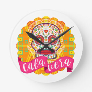 Calavera. Day of the Dead Mexican Sugar Skull Round Clock