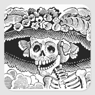 Calavera Garbancera (Catrina) by José Posada Square Sticker