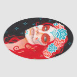 Calavera Girl with Red Hair Oval Sticker
