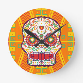 Calavera II. Day of the Dead Mexican Sugar Skull Round Clock