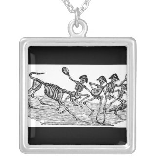 Calaveras at the Running of the Bulls c. 1800's Square Pendant Necklace