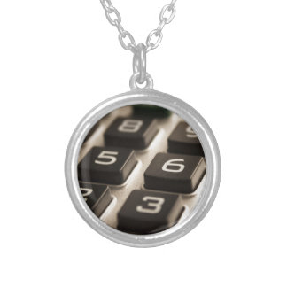 """Calculator Close-Up"" Silver Plated Necklace"