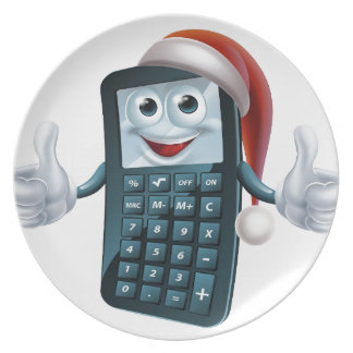 Calculator math christmas character party plate