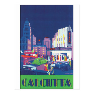 Calcutta Vintage Travel Poster Postcard