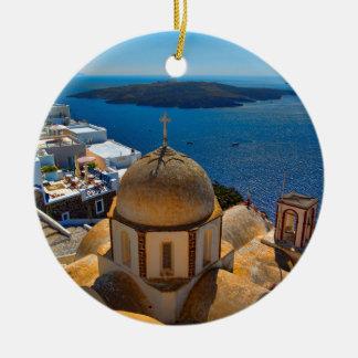 Caldera Church in Santorini Greece Round Ceramic Decoration