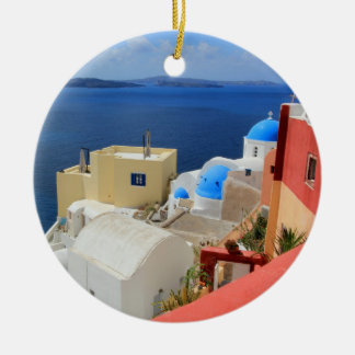 Caldera, Oia, Santorini, Greece Ceramic Ornament