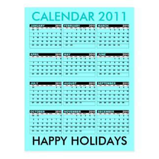 Calendar 2011 Happy Holidays Postcard Blue