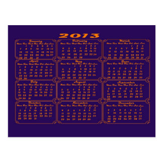 Calendar 2013 Purple Postcard