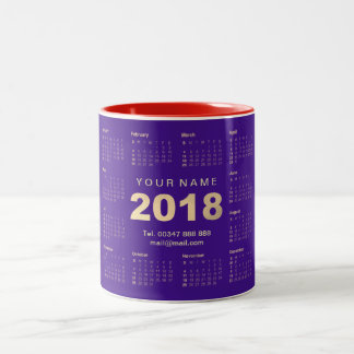 Calendar 2016 Purple Gold Coral  Name Adress Brand Two-Tone Coffee Mug