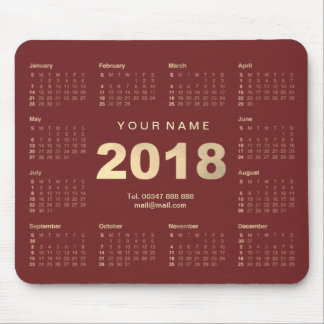 Calendar 2018 Burgundy Gold Name Contact Web Numer Mouse Pad