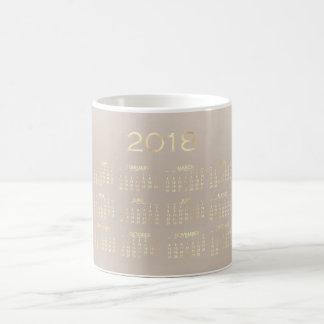 Calendar 2018 Ivory Creamy Beige Gold White Coffee Mug