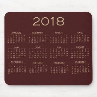 Calendar 2018 Maroon Burgundy Ivory Sepia Gold Mouse Pad