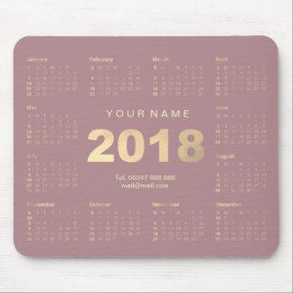Calendar 2018 Mauve Pink Gold Name Contact Numer Mouse Pad