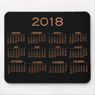 Calendar 2018 Metallic Black Copper Rose Gold Mouse Pad