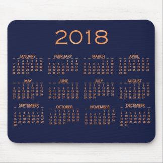 Calendar 2018 Metallic Blue Navy Copper Rose Gold Mouse Pad
