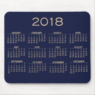 Calendar 2018 Metallic Blue Navy Sepia Gold Mouse Pad