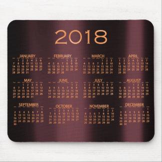 Calendar 2018 Metallic Burgundy Copper Rose Gold Mouse Pad