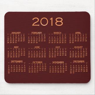 Calendar 2018 Metallic Burgundy Maroon Rose Gold Mouse Pad