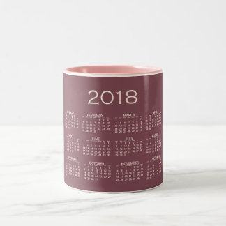 Calendar 2018 Minimal  Mauve Red Bean Pink Blush Two-Tone Coffee Mug
