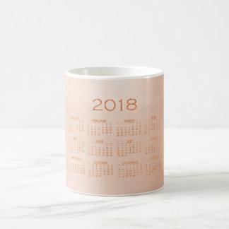 Calendar 2018 Minimal Rose Copper Blush Gold Coffee Mug