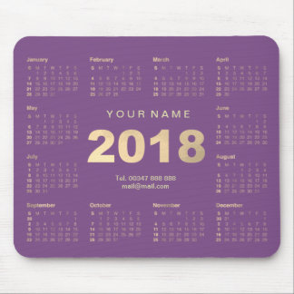 Calendar 2018 Purple Gold Name Contact Web Numer Mouse Pad