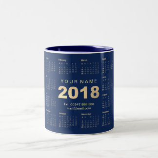 Calendar 2018 Sepia Gold Blue Navy Name Adress Web Two-Tone Coffee Mug