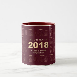 Calendar 2018 Sepia Gold Burgund Name Adress Brand Two-Tone Coffee Mug