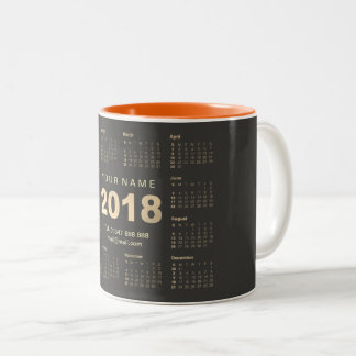 Calendar 2018 Sepia Gold Gray Name Adress Brand Two-Tone Coffee Mug