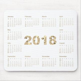 Calendar 2018 Sepia Gold Metallic White Mouse Pad