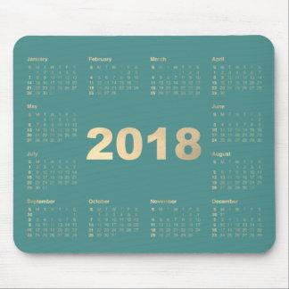 Calendar 2018 Teal Aqua Faux Gold Metallic Minimal Mouse Pad