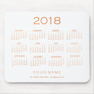 Calendar 2018 White Copper Rose Gold Contact Numer Mouse Pad