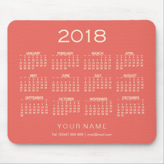 Calendar 2018 White Coral Ivory Name Contact Numer Mouse Pad