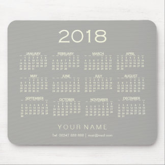 Calendar 2018 White Gray Name Contact Numer Mouse Pad