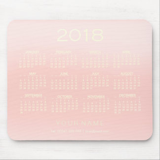 Calendar 2018 White Ombre Rose Pink Contact Numer Mouse Pad