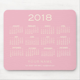 Calendar 2018 White Pink Ivory Name Contact Numer Mouse Pad