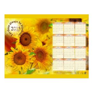 Calendar for 2013 with Sunflowers Postcard
