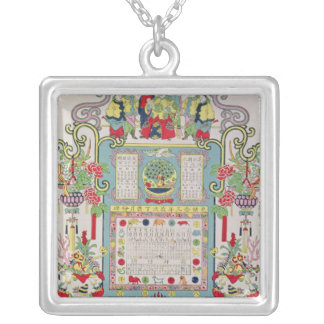 Calendar for Year 23 of the Reign of Emperor Silver Plated Necklace