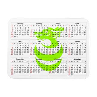 Calendar Light Green dragon Premium Magnet