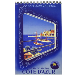 Calendar Vintage Travel 14 Posters Europe plain