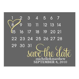 Calendar Wedding Announcement Postcards {yellow}