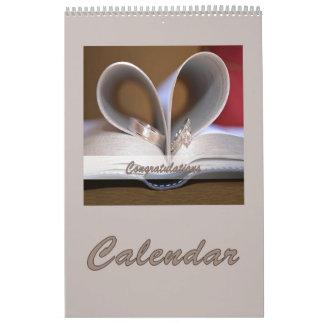 Calendar Wedding Congratulations Rings Single Page