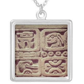 Calendar with four glyphs, Toltec Silver Plated Necklace