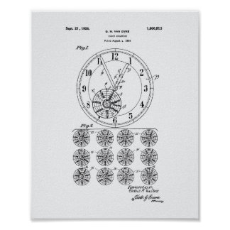 Calender Clock 1926 Patent Art White Paper Poster