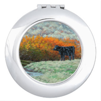 Calf by Creek in the Fall Compact Mirror