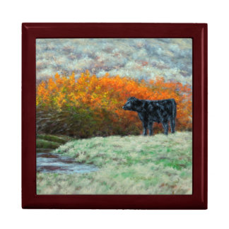 Calf by Creek in the Fall Keepsake Box
