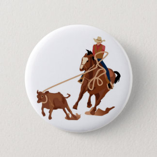Calf Roping 6 Cm Round Badge