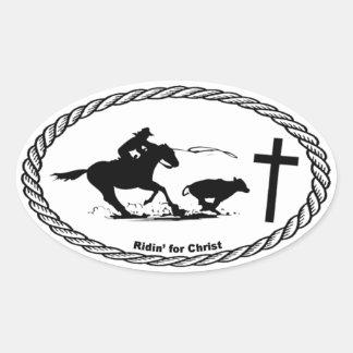 Calf Roping Cross Euro Style Sticker