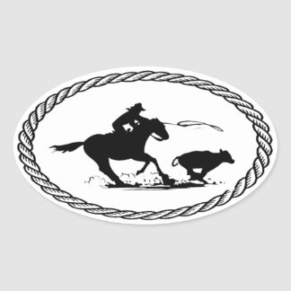 Calf Roping Euro Style Oval Sticker