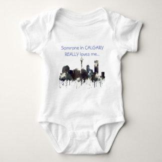 CALGARY, ALBERTA SKYLINE - CRISP - Baby suit Baby Bodysuit